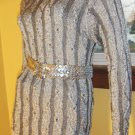 Glitterama Silver Shimmer Acrylic Knit Beaded Sweater Top S/M