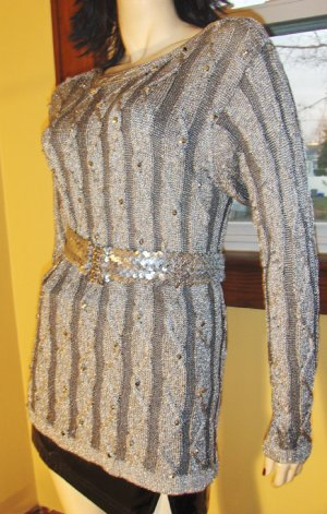 Glitterama Silver Shimmer Acryclic Knit Beaded Sweater Top S/M