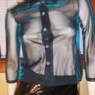 Electric Blue Ultra Sheer Disco Glam Sexy Shimmer Blouse vintage 70s 80s S/XS