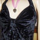 Vintage 80s Vampy Lolita Crushed Velvet Black Halter Babydoll Minidress M.