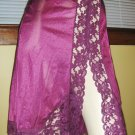 Vintage Lacy High Cut Sexy Nylon Half Slip Plum M 70s