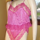 Vintage 70s FREDERICKS OF HOLLYWOOD Hot Pink Frilly Lace Nylon Camisole and Panty Set M.