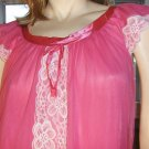 Vintage 70s GIRLY GLAM Hot Pink Double Nylon Chiffon Nightgown Erica Loren M.