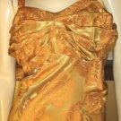 Bodacious Bombshell Sexy 60s Glam Gold Brocade Curvy Cocktail Dress M/L