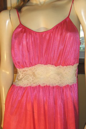 70s Glam Goddess Shimmery Hot Pink Lace Panel Slinky Nylon Nightgown S/M