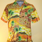 Vintage Hawaiian Tropical Paradise Swanky 70s Men&#39;s Party Shirt Sz. L 16/16 1/2