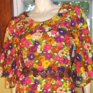 60s PRINCESS Of MOD Hippie Chick Floral Flutter Slv Micro Mini Dress S.