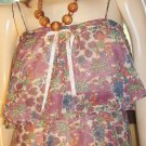 Boho 70s Hippie Girl Sheer Tiered Ruffle Floral Peasant Dress S/XS