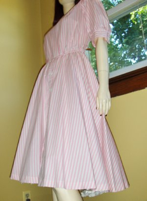 Retro 80s does 50s Pink Candy Striper Circle Skirt Swing Kitten Dress Sz. 18
