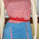50s Rockabilly Doll Red Gingham Print PINUP Romper Minidress Sz L