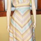 Sassy 70s Chevron Stripes Flirty Aline Boho Dress Size L.