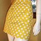 Retro Cutie Yellow Polka Dot MOD LOLITA Denim Micro Mini Skirt Sz. 8
