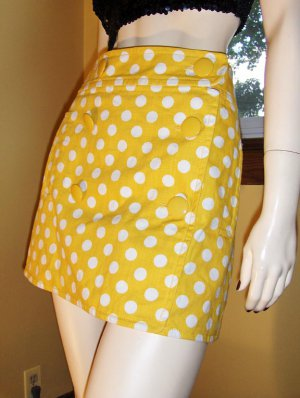 Retro Cutie Yellow Polka Dot MOD LOLITA Denim Micro Mini Skirt Sz. 8