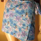 Sexy Hawaiian Hula Girl Exotic Hibiscus Print Mini Wrap Skirt/Beach Coverup S.