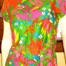 Smashing 70s Neon Flower Power Print Cotton Vintage Shift Dress M/L