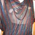 Disco Party Dancing Queen Glittery Rainbow SHEER Batwing Blouse M/L vintage 70s glam