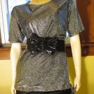 Glitzy Glitter Glam Silver Metallic Vintage Disco Party Top Blouse Sz 12 70s 80s