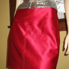 80s Vampy Vixen Retro Red Skin Tight Spandex Mini Skirt sz 13-14 rare vintage glam