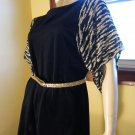 Fierce 70s Gold Glitter Tiger Striped Batwing Sleeve Party Blouse Tunic Top Minidress Sz. S/M
