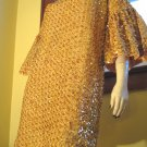 Ultimate Vintage 60s Gold Glam Sequin Bell Slv Party Mini Dress M/L