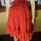 Vintage 70s Lipstick Red Pinup Rockabilly Tiered Flairy Ruffle Skirt S.
