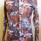 Vintage 70s Victorian Scene Novelty Print Mens Disco Shirt L 16-16 1/2