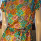 Vintage 60s Mod Flower Power Groovy Girl Floral Print Dress M.