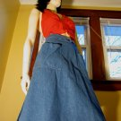 Vintage 70s High Waisted Funky Hippie Denim A-Line Wrap Skirt M.