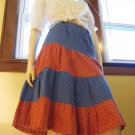 Boho 70s Prairie Country Girl Tiered Floral Patchwork Skirt M/L