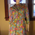 Vintage 70s Flirty Floral Springtime Watercolor Print Minidress and Jacket Set S.