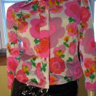 60s MAD for MOD Psychedelic Neon Flower Power Blouse Top S/M