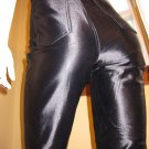 Vintage 80s 90s High Waisted Black Satin Spandex Disco Rocker Pants Sz. 9