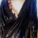 Vintage 80s Vamp Sexy Deep V Sequin Black Shimmer Wet-Look Party Dress M.