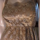 Vintage 60s Gold Glam Goddess Shimmery Chiffon Lace Cocktail Party Halter Mini Dress Sz. M/L