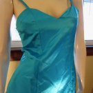 Vintage 80s Glam Electric Blue Satin Bubble Hem Party Mini Dress S/XS