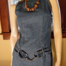 80s Rocker Girl Curvy Blue Denim Belted Mini Dress S XS
