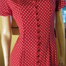 Sexy 80s Retro Red Polka Dot Pinup Buttondown Pencil Dress Sz 7/8
