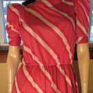 Vintage 80s Pink Candy Stripes Puff Sleeve Preppy Dress Sz 9 M.