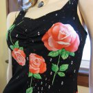 Sexy Disco Doll Vintage 70s Pink Roses Floral Border Print Babydoll Mini Dress S.