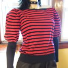 Vintage 80s Punk New Wave Striped Balloon Sleeve Swanky Sweater Top M.