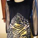 70s Lady Cat Wild Leopard Tiger Print Full Sweep Maxi Dress L.