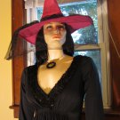 Vintage 70s Deep V Sexy Wicked  Witch Gothic Bride Black Maxi Dress Costume w/ witch hat M