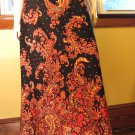 Vintage 70s Boho Hippie Psychedelic Floral Paisley Indian Style Maxi Skirt M.