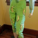 Whacky Banana Print High Waisted Green Capri Pants Size 8 Small