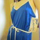 Vintage 70s Sapphire Blue Polyester Disco Dress Sz 12 MINT NWT NOS