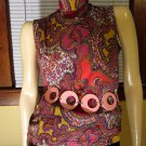 Swingin' 60s Groovy Girl Psychedelic MOD Paisley Print Vintage Top M.