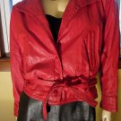 Sexy Vintage 80s Disco Diva Cherry Red Batwing Sleeve Leather Jacket Coat S.