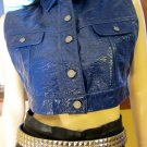 Designer BUFFALO DAVID BRITTON Blue Vinyl-Look Biker Girl Vest retro 90s M. NWT MINT