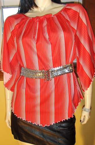 SWEET 70s Candy Cane Stripes Angelwing Hippie Girl Blouse Top M.