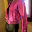 Flashy 90s Shimmery Metallic Electric Pink Leather Jacket M. punk disco glam